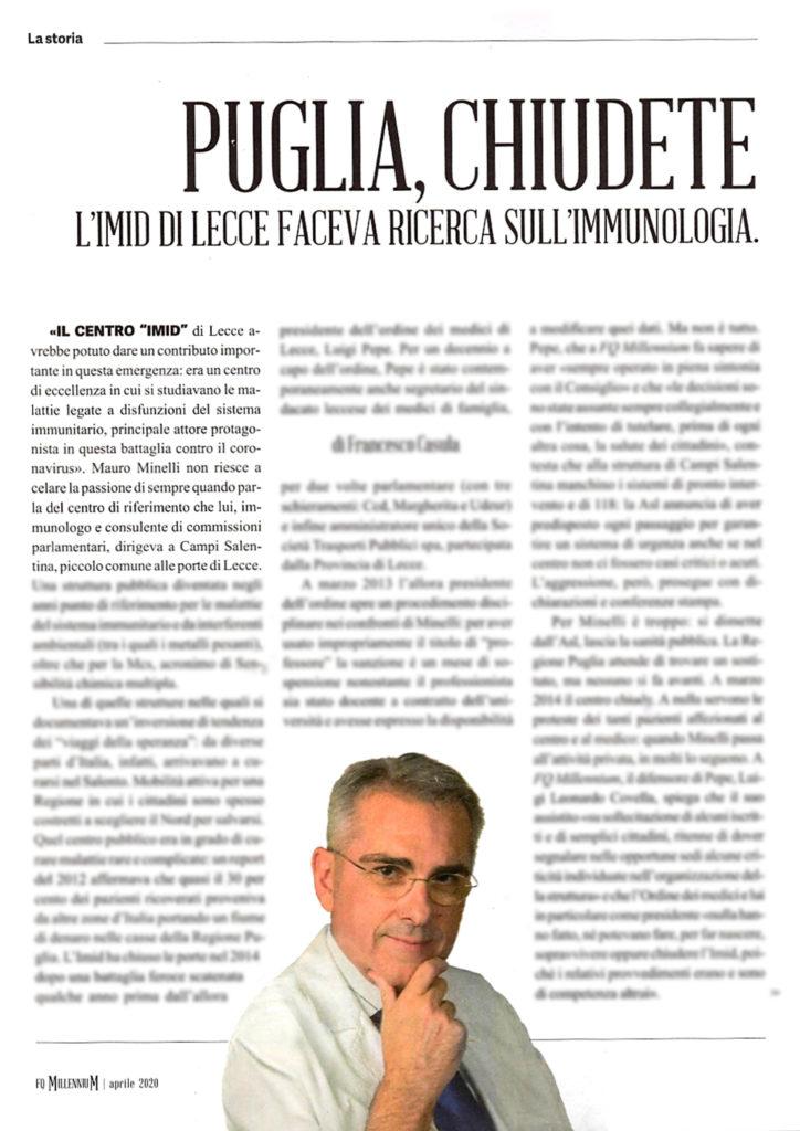 L'IMID di Lecce faceva ricerca sull'immunologia