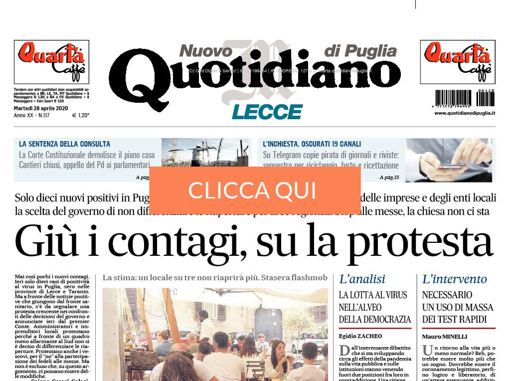 Articolo Minelli quotidiano Puglia Lecce